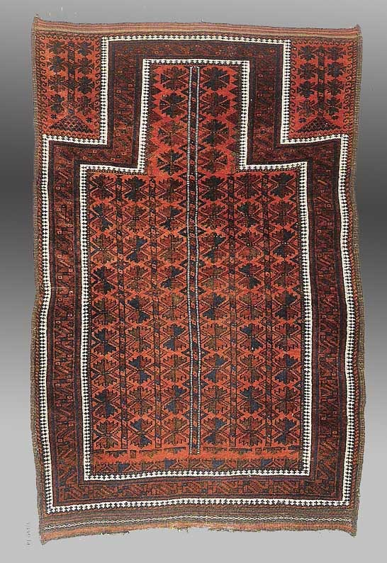 0 81 X L 32m 2 8 4 The Entire A B Border Systems Diverted Inward To Define Mihrab Red Ground Baluch Prayer Rugs Are Rare